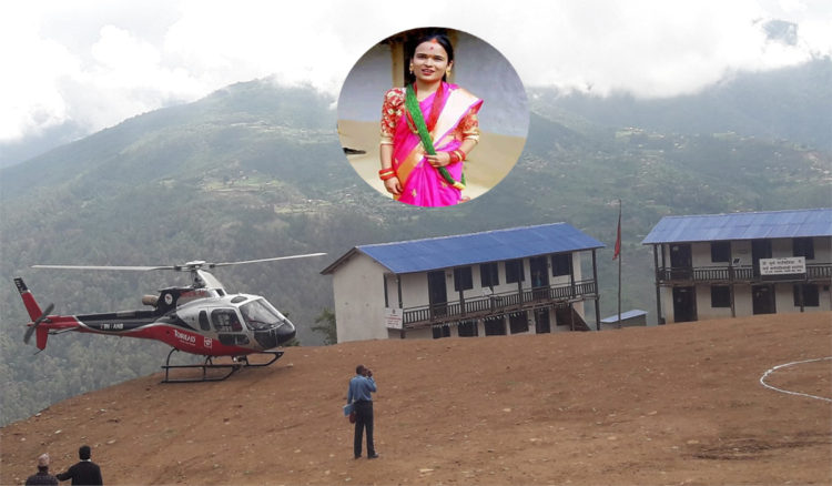 बिहिबार गर्भवती महिलालाई हेलिकप्टर द्धारा कुशे गाउँपालिकाले उद्धार गर्यो