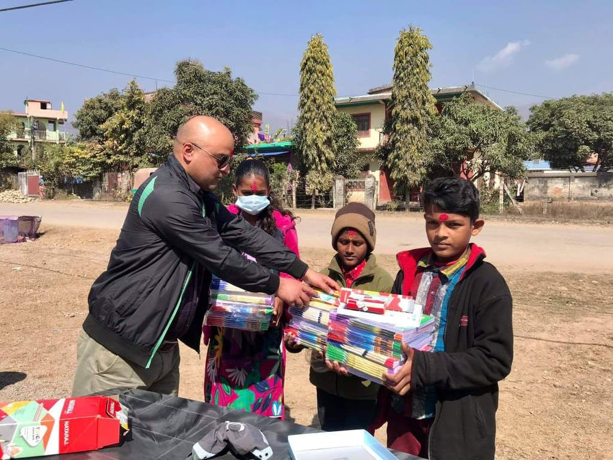 Bista Distributed educational materials on the occasion of Saraswati Puja.